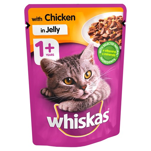 Picture of Whiskas Adult 1+ Wet Cat Food Pouches Chicken in Jelly 100g