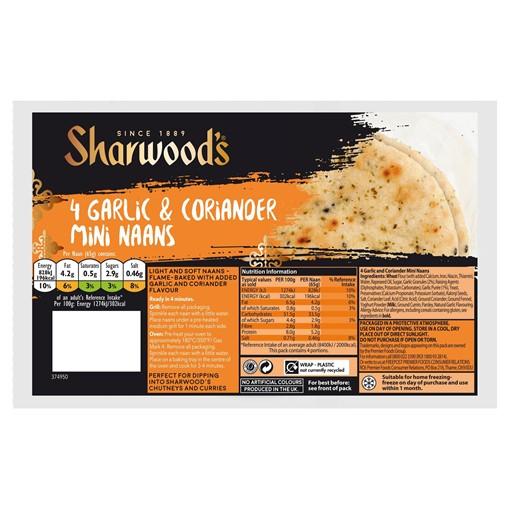 Picture of Sharwood's 4 Garlic & Coriander Mini Naans