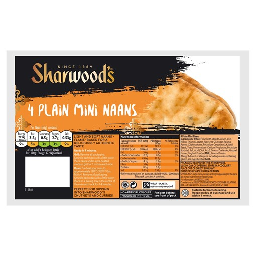 Picture of Sharwood's 4 Plain Mini Naans