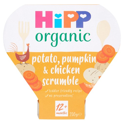 Picture of HiPP Organic Potato Pumpkin & Chicken Scrumble Toddler Tray Meal 1-3 Years 230g