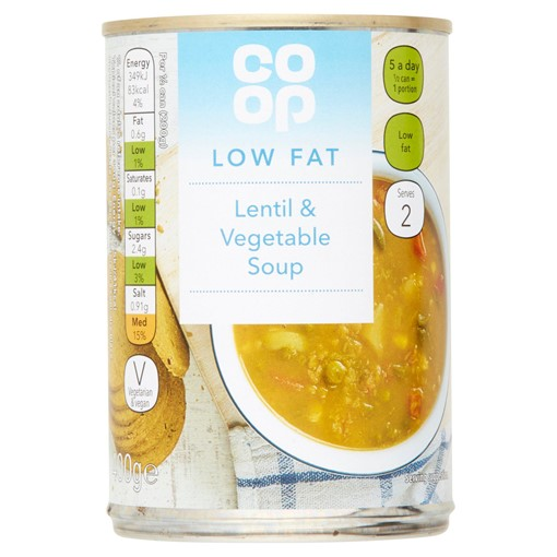 Picture of Co Op Low Fat Lentil & Vegetable Soup 400g