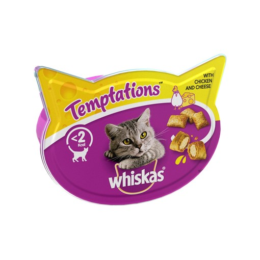 Picture of Whiskas Temptations Adult 1+ Cat Treats Chicken & Cheese 60g