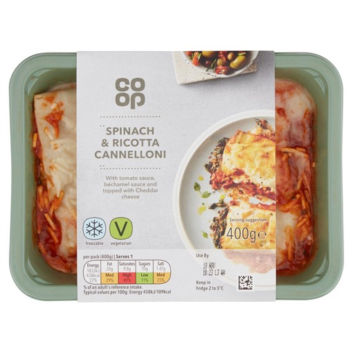 Picture of Co Op Spinach & Ricotta Cannelloni 400g