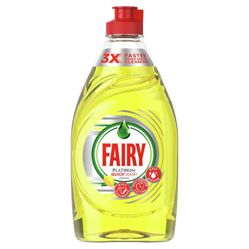 Picture of Fairy Platinum Quickwash Lemon Washing Up Liquid With Up To 3X Faster Tough Grease Cleaning 383ml