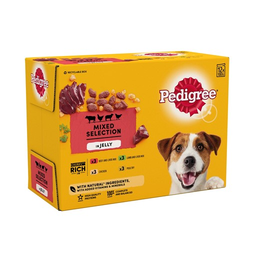 Picture of Pedigree Adult Wet Dog Food Pouches Mixed Selection in Jelly 12 x 100g
