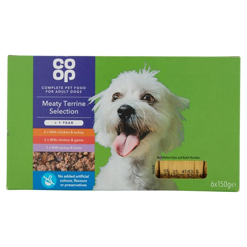 Picture of Co Op Meaty Terrine Selection Dog Food +1 Year 6 x 150g