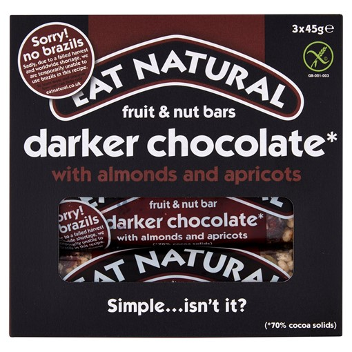 Picture of Eat Natural Fruit & Nut Bars Darker Chocolate With Almonds And Apricots 3 x 45g