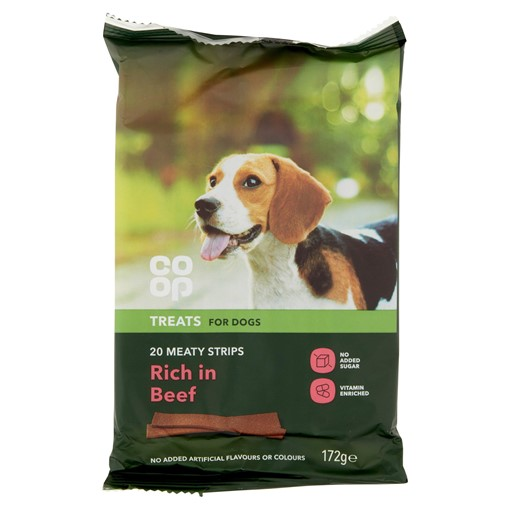 Picture of Co Op Pet Treats for Dogs 20 Meaty Strips 172g