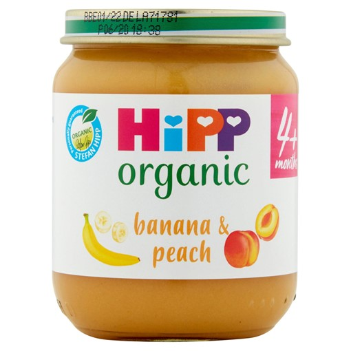 Picture of HiPP Organic Banana and Peach 100% Fruit Baby Food Jar 4+ Months 125g