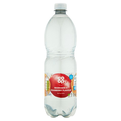 Picture of Co-op Mandarin and Cranberry Flavoured Spring Water Drink No Added Sugar with Sweeteners 1 Litre