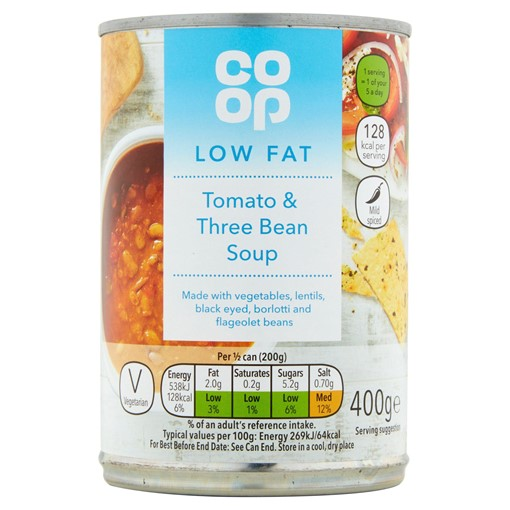 Picture of Co-op Low Fat Tomato & Three Bean Soup 400g