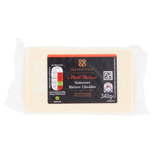 Picture of Co-op Irresistible 6 Month Matured Somerset Mature Cheddar 340g