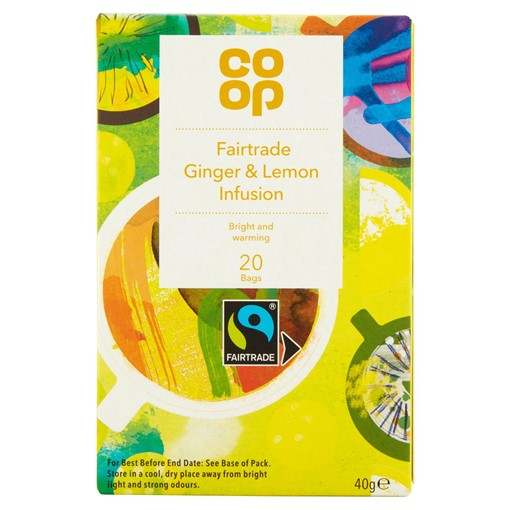 Picture of Co-op Faitrade Lemon & Ginger Infusion 20 Tea Bags 40g