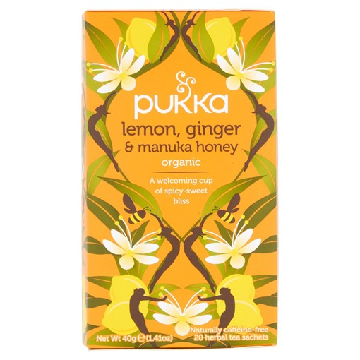 Picture of Pukka Organic Lemon, Ginger & Manuka Honey 20 Herbal Tea Sachets 40g