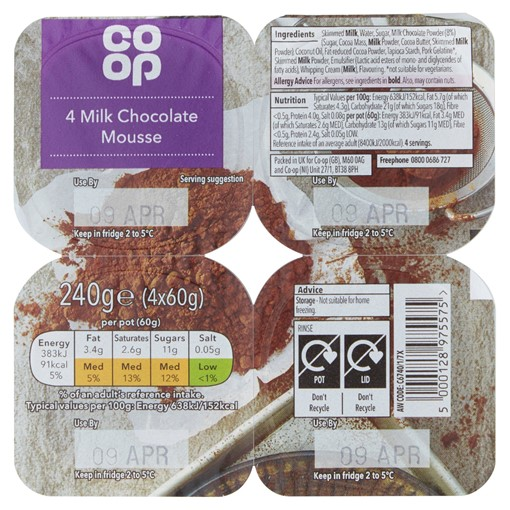 Picture of Co Op Milk Chocolate Mousse 4 x 60g