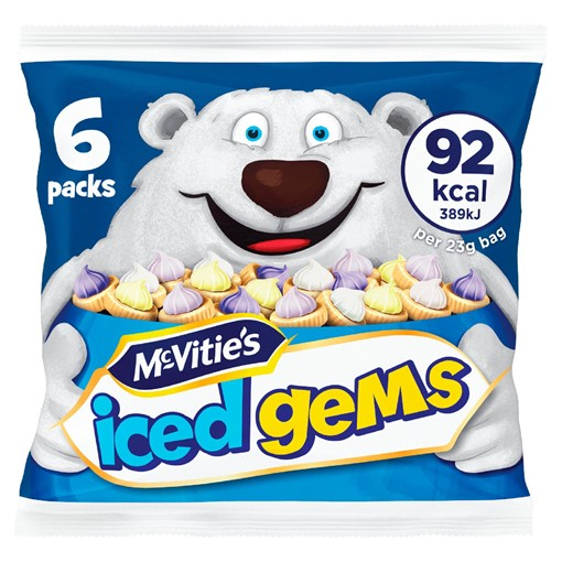 Picture of McVitie's Iced Gems Fruit Flavour Iced Topped Biscuits 6 x 23g
