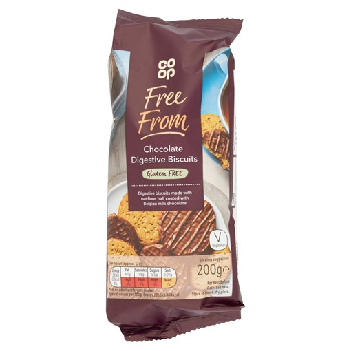 Picture of Co Op Free From Chocolate Digestive Biscuits 200g