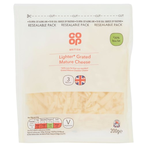 Picture of Co-op British Lighter Grated Mature Cheese 200g