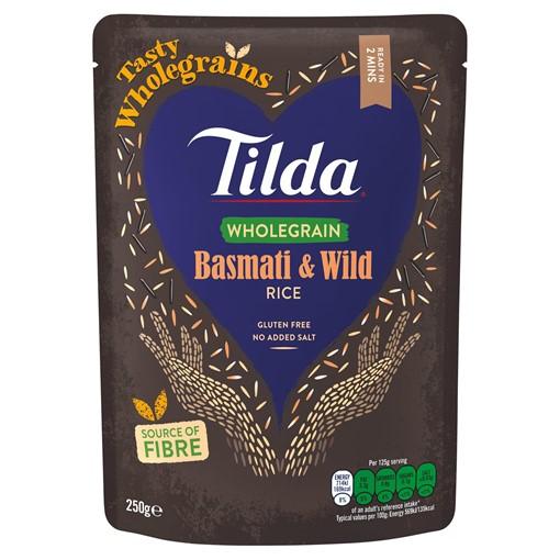 Picture of Tilda Brown Basmati & Wild Rice Wholegrain Brown Basmati Rice 250g