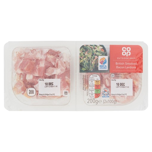 Picture of Co Op Outdoor Bred British Smoked Bacon Lardons 200g