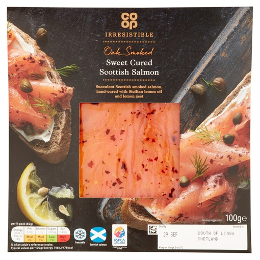 Picture of Co-op Irresistible Oak Smoked Sweet Cured Scottish Salmon 100g