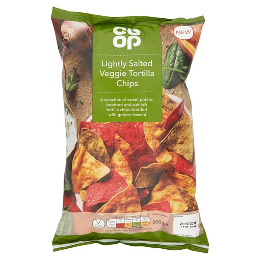 Picture of Co Op Lightly Salted Veggie Tortilla Chips 200g