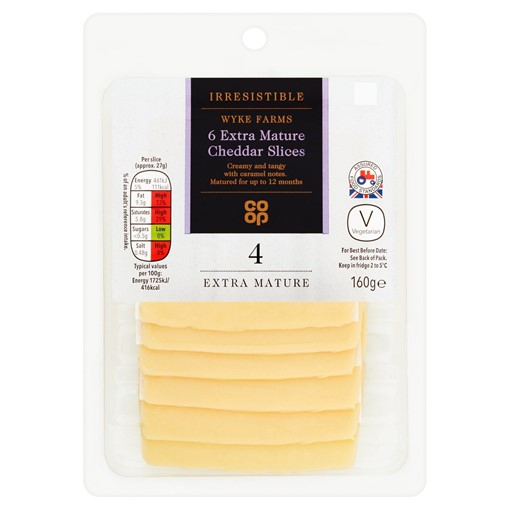 Picture of Co Op Irresistible 6 Extra Mature Cheddar Slices 160g