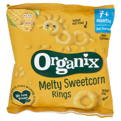 Picture of Organix Melty Sweetcorn Rings Organic Baby Finger Food Snack 20g