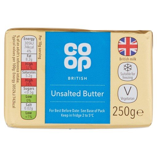 Picture of Co-op British Unsalted Butter 250g