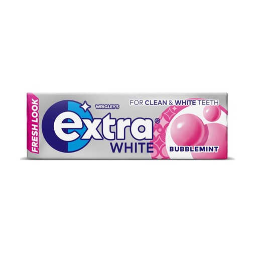 Picture of Extra White Bubblemint Chewing Gum Sugar Free 10 Pieces
