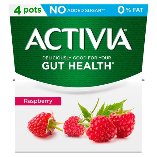 Picture of Activia Raspberry No Added Sugar 0% Fat Yogurt 4 x 120g (480g)