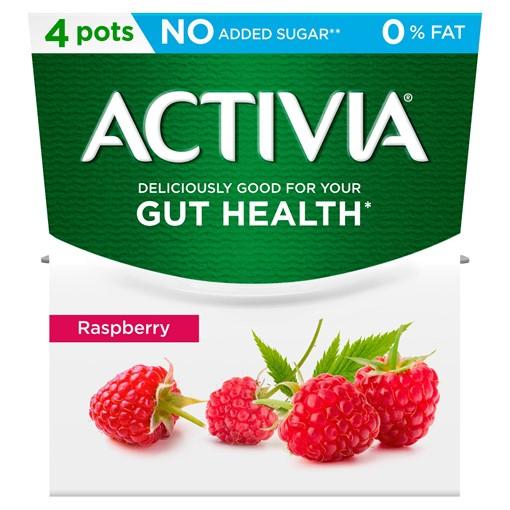 Picture of Activia Raspberry No Added Sugar 0% Fat Yogurt 4 x 120g (480g)