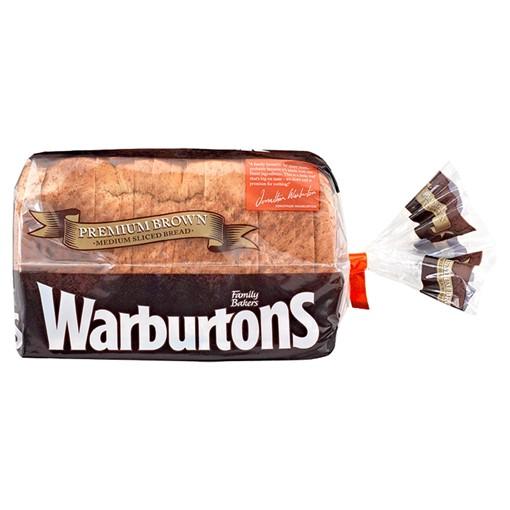 Picture of Warburtons Premium Brown Medium Sliced Bread 400g