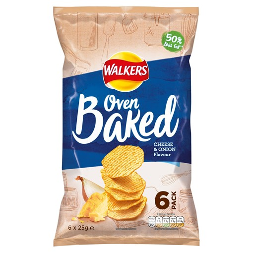 Picture of Walkers Oven Baked Cheese & Onion Multipack Snacks 6x25g