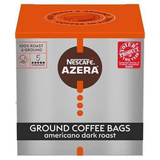 Picture of Nescafe Azera Americano Dark Roast Blend Ground Coffee Bags 10 x 8g