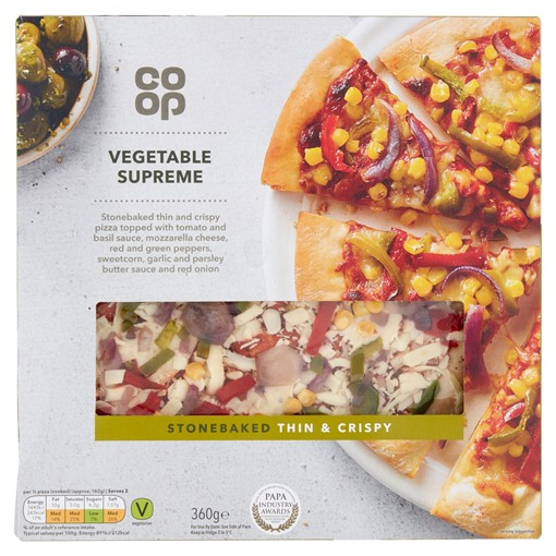 Picture of Co-op Stonebaked Thin & Crispy Vegetable Supreme 360g