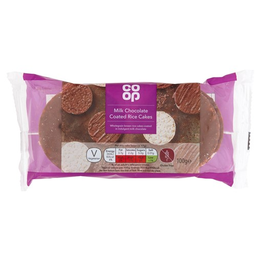 Picture of Co-op Milk Chocolate Coated Rice Cakes 100g