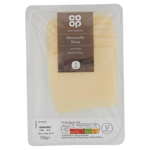 Picture of Co-op Continental Mozzarella Slices 150g