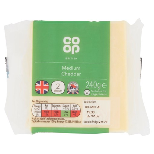 Picture of Co-op British Medium Cheddar 240g