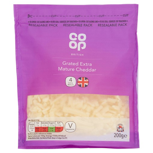 Picture of Co Op British Grated Extra Mature Cheddar 200g