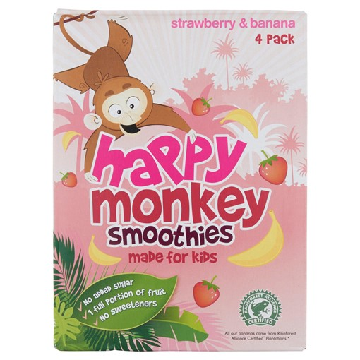Picture of Happy Monkey Smoothies Strawberry & Banana 4 x 180ml