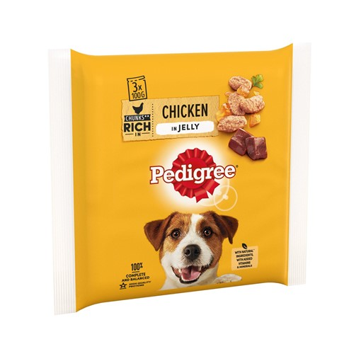 Picture of Pedigree Adult Wet Dog Food Pouches Chicken in Jelly 3 x 100g