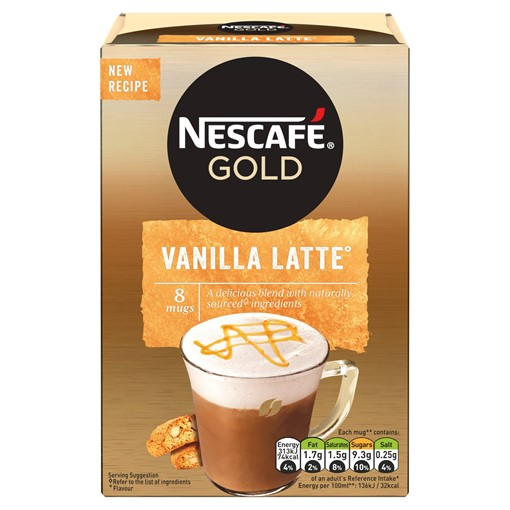 Picture of Nescafe Gold Vanilla Latte Instant Coffee 18.5g x 8 Sachets