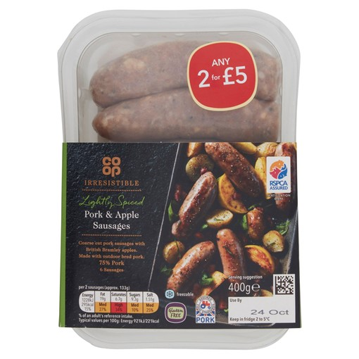 Picture of Co-op Irresistible 6 Pork & Apple Sausages 400g