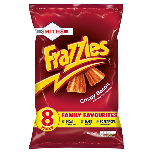 Picture of Smiths Frazzles Crispy Bacon Multipack Snacks 8x18g