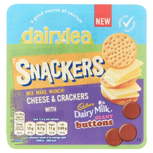 Picture of Dairylea Snackers Cheese & Crackers with Cadbury Dairy Milk Giant Buttons 72.8g