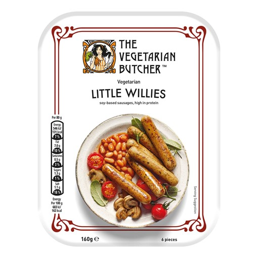 Picture of The Vegetarian Butcher 6 Vegetarian Little Willies High Protein Soy-Based Sausages 160g