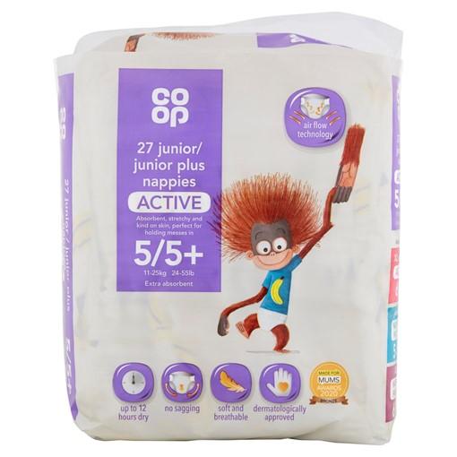 Picture of Co-op Active Size 5/5+ 11-25kg 24-55lb 27 Junior/Junior Plus Nappies