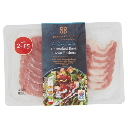 Picture of Co-op Irresistible 6 Dry Cured Unsmoked Back Bacon Rashers 230g
