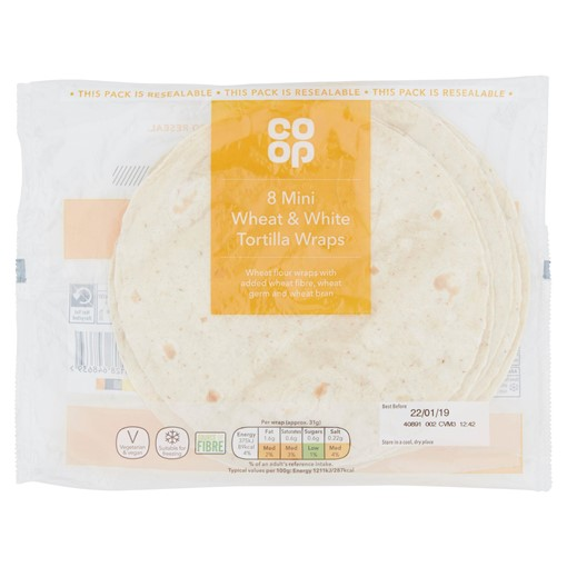 Picture of Co Op 8 Mini Wheat & White Tortilla Wraps